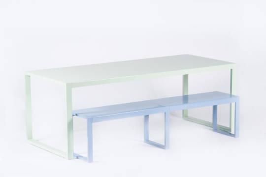 Table haute rectangulaire en aluminium-Yvone | Origine Metal ...